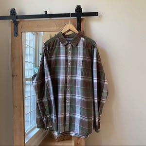 The North Face Green Plaid Button Up Long Sleeve